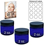 2 Oz Cobalt Blue Empty Glass Cosmetic Container Jars 3 Pack with Smooth Top Lids, Waterproof Labels, 3 Free eBooks, and 4 DIY Recipes, Face Cream, Body Butter, Lotion, Scrubs, Bath Salts