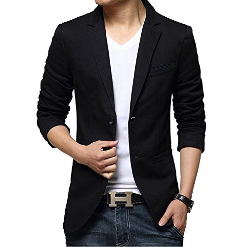 iPretty Men's Suit Jacket Fashion Slim Cotton Thin Casual Two Buttons Blazer Coat