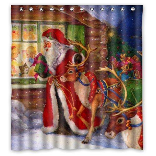 Santa Reindeer Bathroom Shower Curtain