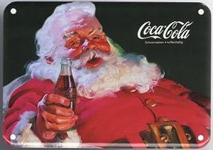 blechschild coca cola weihnachtsmann mit cola flasche. Black Bedroom Furniture Sets. Home Design Ideas