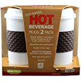 Design for Living Reusable Hot Beverage Double-wall Travel Mug, Brown Set of (2)