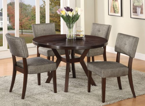 Acme Furniture Top Dining Table Set Espresso Finish Drake Collection 4 Chairs (Round Dining Table Set For 4 compare prices)