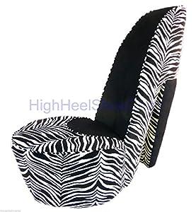 zebra and black high heel shoe chair kitchen