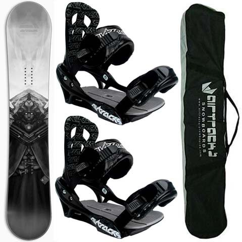 AIRTRACKS SNOWBOARD SET - CARBON BOARD SEEKER 164 - SOFTBINDING SAVAGE M - SB BAG