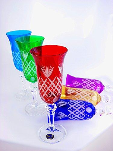 Lot de 6 flûtes à Champagne en cristal taillé à la main, multicolore, onyXglass à verres vin de couleur 150 Laura