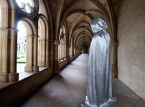 GOTOBUYWORLD Full Length Halloween Hooded Cape Costume Accessory (110 CM, Silver)