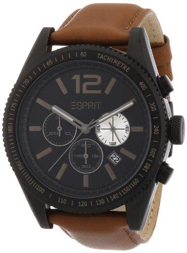 Esprit A.ES104111003 - Reloj cronógrafo de cuarzo para hombre con correa de piel, color marrón