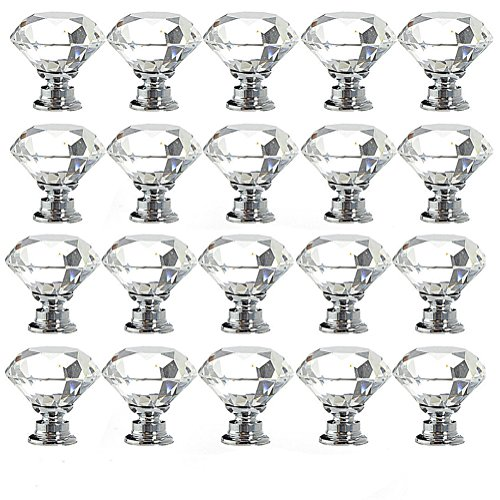 YUYIKES 15pcs Diamond Shape Crystal Glass 30mm Drawer Knob Pull Handle Usd for Cabinet, Drawer,Chest, Bin, Dresser, Cupboard (Crystal Ball Knob compare prices)