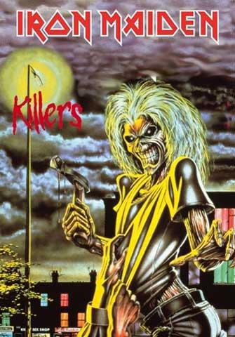 Iron Maiden-Killers-Bandiera Poster 100% poliestere-dimensioni 75x 110cm