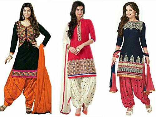 Maxthon-Fashion-Womens-Printed-Unstitched-Regular-Wear-Salwar-Suit-Dress-Material-Combo-pack-of-3MaxCombo7060Max3033Black-OrangeMax3032RedMax3001Blue