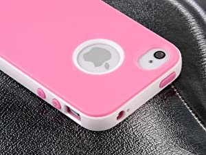 Pandamimi Dexule Pink White Fashion Sweety Girls TPU , PC 2-Piece Hard Case Cover for iPhone 4 4S with Screen Protector