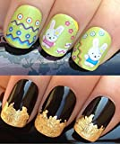 NAIL ART SET #155. A SHEET OF WATER NAIL TRANSFERS & A LARGE GOLD LEAF SHEET FOR CUSTOM DESIGNED NAIL! SUPER CUTE KAWAII BUNNY RABBITS & EASTER EGG PATTERN WAVEY LINES & CIRCLES WITH MICRO FLOWERS WATER WRAP/STICKERS/DECALS & STUNNING 24KT GLIZZY GOLD LE
