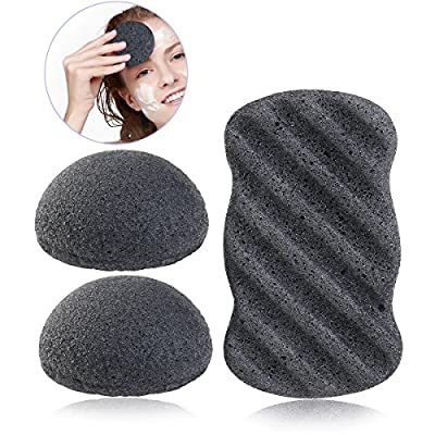 PIXNOR Konjac Sponge All Natural Facial Body Sponges with Activated Bamboo Charcoal - 3 Pack