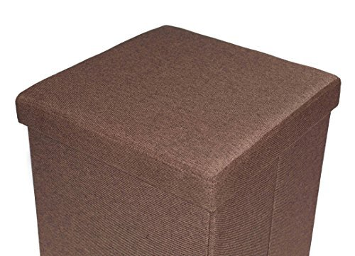 BirdRock Home Folding Storage Ottoman with Legs | Upholstered | 16 x 16 | Linen | Strong and Sturdy | Quick and Easy Assembly | Foot Stool | Brown