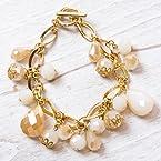 White and Gold Cluster Bracelet
