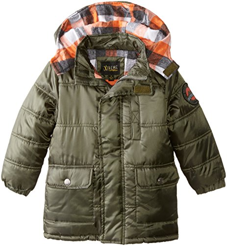 iXtreme Little Boys' Buffalo Check Inner Solid Puffer, Forest, 7