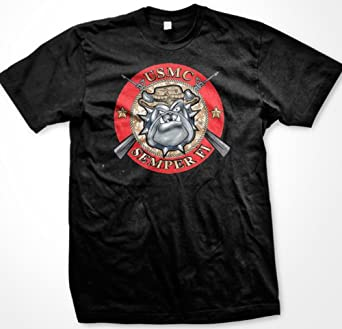 USMC Bulldog Semper Fi Mens T-shirt, United States Marines Corp. Men's Shirt , Small, Black
