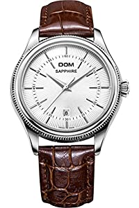 DOM Mens Casual Luxury Silver Classic Vintage Leather Quartz Watches