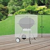 Premium Schutzhülle für Rundgrill/Kugelgrill/Standgrill aus Polyester Oxford 600D - lichtgrau - von 'mehr Garten' - Größe L (Durchmesser: 93 cm)