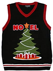 Ugly Christmas Sweater - Lighted LED Christmas Tree Sweater Vest in Black