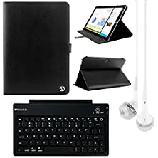 buy Vangoddy Arthur 10.6-Inch Tablet Portfolio Case For Dragon Touch X10 With Bluetooth Keyboard & White Headphones (Black)