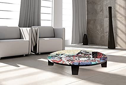 "TAF DECOR ""Beautiful Ones"" Art Coffee Table, 35"" X 35"" X 7.5"", Black/Grey/Beige/Burgundy/Navy/Turquoise"