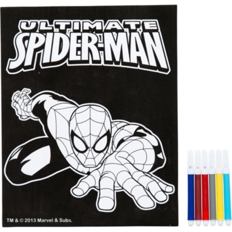 Marvel Comics Ultimate Spider-Man Velvet Coloring Sheet with Markers - 1