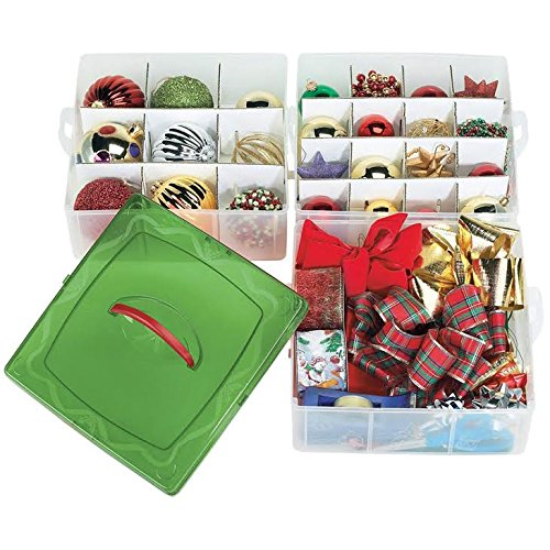 christmas plastic ornament storage container    3 stackable