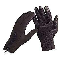 Okayji Touchscreen Windproof Warm Gloves Winter Outdoor Cycling Gloves for Snowboard Skiing Riding Cycling Bike Sports Outdoor Winter Thermal Warm Silicone Palm - 1 Pair