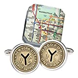 Sterling Silver New York City Subway Token Cufflinks NYC Cuff Links