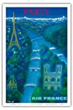 Paris - River Seine, Eiffel Tower, Notre Dame - Air France - Vintage Airline Travel Poster by Bernard Villemot c.1963 - Master Art Print - 12in x 18in