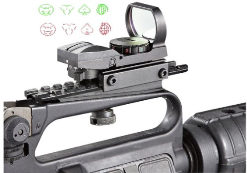 Ultimate Arms Gear Tactical Cqb 4 Reticle Modern Destroyer Edition Dual Red / Green Open Reflex Sight With See Thru Ar15 Ar-15 M4 M-4 M16 M-16 Rifle Carry Handle Weaver-Picatinny Rail Adapter Scope Mount
