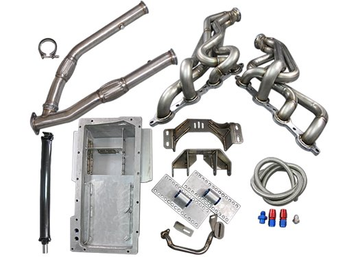LS1 LSx T56 Mount Kit + Headers Exhaust Y Pipe Oil Pan Driveshaft 240SX S13