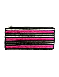 PINK MULTI-COLOR BEADED HAND BAG ZIPPER POUCH
