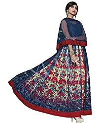 StylishFashion Anarkali Salwar Suit Of Shilpa Shetty With Red Cobalt Blue Net Chiffon