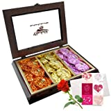 Romantic Indulgence Rocks Collection With Love Card And Rose - Chocholik Luxury Chocolates