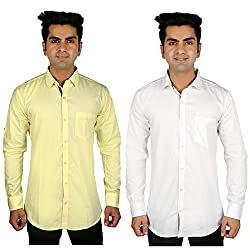Nimegh White, Yellow Color Cotton Casual Slim fit Shirt For men's (Pack of 2)
