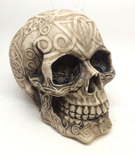 CELTIC TRIBAL TATTOO HOMOSAPIEN CREAM SKULL STATUE FIGURINE SKELETON