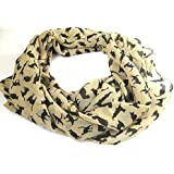 eFuture(TM) Apricot Fashion Soft Chiffon Black Cat Prints Ladies /Women Long Scarf Shawls +eFuture's nice Keyring