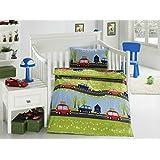 Aminata Kids - Kinderbettwäsche 100x135 Baumwolle Auto
