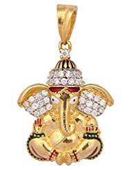 Vama Collections One Gram Gold Plated Ganesh Ganesha Pendant With Cubic Zirconia Diamond For Men Women Children... - B00ORNIL0C