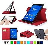 Sony Xperia Z3 Compact Tablet ケース,Fyy® 高級PU レザーケース 超薄型スマートケース  マグネット開閉式 スタンド機能付き  カードスロット付き ・ リストバンド付  360度回転可能 &解体可能タイプ 【全6色】レッド