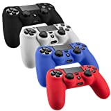 Slickblue (TM) Pack of 4 Color Combo Flexible Silicone Protective Skin For Sony PS4 Game Controller - Black/Red/Blue/White