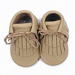 Voberry® Moccasins Tassel Shoes Firstwalker Boots Leather Shoes for Baby Toddler (0~6 Month, Beige)