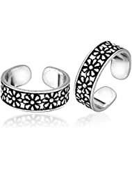 Gandhi Jewellers Sterling Silver Pair Of Beautiful Thick Flower Design Toe Rings Pair. Toe Rings For Women.