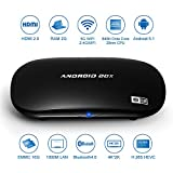 TV Box, Pictek®Android 5.1, Reproductor multimedia inteligente, Rockchip 3368 64bits Octa-core ARM Cortex A53 CPU, RAM 2G + 16G eMMC Flash, apoya UHD 2K x 4K, Bluetooth 4.0, H.265, HDMI 2.0, WiFi y Miracast / Airplay / DLNA y Gigabit rojo y OTA, para casa