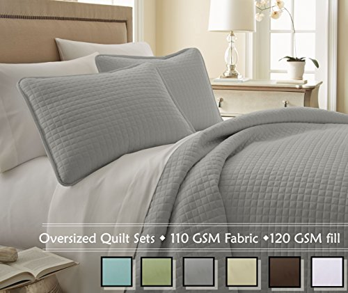 Southshore Fine Linens® 3 Piece Oversized Quilt Set - Steel Grey KING / CALIFORNIA KING (Oversized King Quilt Gray compare prices)