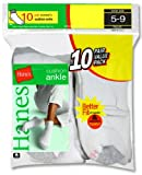 Hanes Cushioned Womens Athletic Socks - Ankle White 5-9