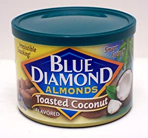 Blue Diamond Flavored Almonds, Toasted Coconut 6-ounce Can (Pack of 2)