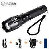 MAIGG 1200LM XM-L T6 LED Zoomable Super Bright Torch Flashlight Light 5 Modes with (18650 Battery, USB Charger, Car Charger , Charger)